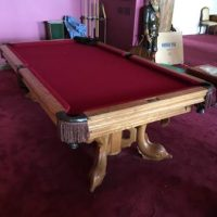 Hand Carved Dolphin Oak Pool Table
