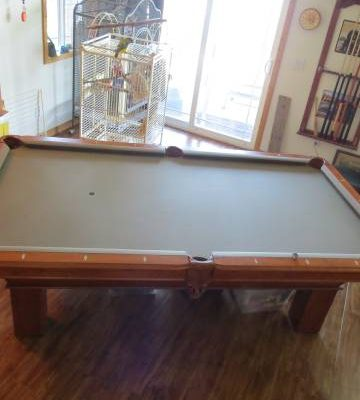 Pool Table - Maple with Leather Pockets & Accessories