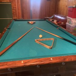 Antiue c1908 Brunswick Monterey Mission Pool Table w/ cues, triangle, balls